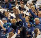 Canterbury fans cheer on their team in the third quarter of the game Saturday afternoon at the Bankers Life Fieldhouse in Indianapolis.