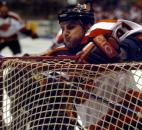 Komets captain Colin Chaulk crashes into the net during a game against Kansas City in March 2005 at Memorial Coliseum. (News-Sentinel file photo)