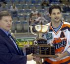 Komet Colin Chaulk is presented with the Foss Folk Memorial Trophy in April 2008 for being the team MVP. (File photo by Ellie Bogue of The News-Sentinel)