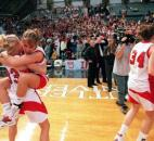 Bishop Luers' Katie Gerardot holds up Breanne Nill as the two celebrate after beating Forest Park 62-60 in the 2000 Class 2A state finals at Hinkle Fieldhouse. With this victory, the Bishop Luers became the third school in IHSAA girls basketball history to repeat as state champions. News-Sentinel file photo