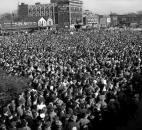 """On a weekend campaign trip by train from Philadelphia to Chicago, where he was scheduled to speak at Soldier Field, President Franklin Roosevelt made a brief stop Oct. 28, 1944, at the Pennsylvania Railroad Station in Fort Wayne. .Thousands assembled north of the Harrison Street elevation to hear the president, who told the crowd he would like to be elected or defeated by a """"big vote."""" (Photo by The News-Sentinel)"""