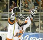 Colin Chaulk celebrates after scoring his second goal during the Komets' 4-2 win against the Muskegon Lumberjacks in January 2010 at the coliseum. (News-Sentinel file photo)