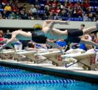 Snider swimmer Landan Mintch takes off at the start of the 50-yard freestyle race at the IHSAA boys swimming finals Feb. 22 at the IUPUI Natatorium in Indianapolis. Mintch finished with the 18th best time and failed to advance out of the preliminary round. (Photo courtesy of Gail Herendeen)