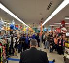 Store Manager Max Pease speaks to Kroger employees, customers and community leaders Jan. 17 at the grand reopening of the Kroger store at 7008 Bluffton Road. The company invested $2.1 million in renovating the store.