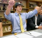 Bishop Dwenger's Tyler Eifert officially signs his national letter of intent with Notre Dame on Feb. 4, 2009, as part of national signing day. At the time of his signing, Eifert was ranked the 10th-best recruit in Indiana, according to rivals.com. (News-Sentinel file photo)