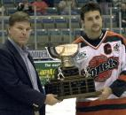 Komets forward Colin Chaulk receives the MVP award during the year-end awards presentation after the final regular season game in April 2004 at the coliseum. (File photo by Ellie Bogue of The News-Sentinel)