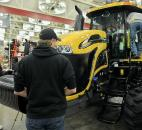 This CAT Challenger drew a steady stream of traffic Jan. 15 during the Farm Show at the Allen County Expo Center. The black bar on the front holds 100-pound weights to balance the vehicle.