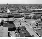 In this undated photo, the Baker Street Station is shown by ariel view as well as the surrounding Fort Wayne neighborhoods. (Photo courtesy of The Allen County Public Library)
