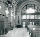On Nov. 26m 1986, scaffolding inside the Baker Street Station awaits restoration experts. (Photo by The News-Sentinel)