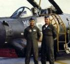 Al Brothers, left, and navigator Major Tony Peter, right, pose in front of a B-57 during the Vietnam conflict. (The News-Sentinel archives)