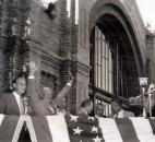 "President Dwight D. ""Ike"" Eisenhower, second from left, made an election campaign stop on Sept. 15, 1952, at the Baker Street Station in downtown Fort Wayne. At left is the late E. Ross Adair, then a Republican U.S. representative from Fort Wayne. Eisenhower is one of many famous people who stopped at the station. (Courtesy photo from Victor Martin)"