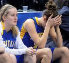 Homestead's Grace German hides her tears as the seconds tick off the clock in the last minute of the game Saturday.