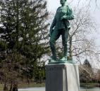 Gen. Henry Lawton is honored with a statue in Lakeside Park. Lawton enlisted in the army in 1861 and served in the 9thn Indiana Volunteer Infantry. He continued his military career after the Civil War, serving until he was killed in 1899 in the Philippines.