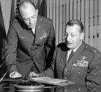 Feb. 6, 1970: Col. John S. Loisel, left, briefs Col. Forrest L. Rauscher, new U.S. Air Force adviser to the Air Guard's 122nd Tactical Fighter Wing at Baer Field, about his duties. Col. Rauscher is a veteran of Vietnam, and before his assignment here served as commander of the 36th Tactical Fighter Wing at Bitburg Air Base, Germany. Col. Loisel recently retired as adviser to the wing. (The News-Sentinel archives)