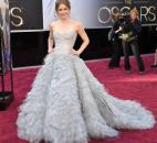 Amy Adams' gown featured a strapless top and billowing, layered bottom. (From The Associated Press)
