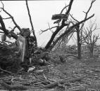 Storm path like battlefield: Destruction brought to western LaGrange County by a tornado April 11, 1965, equaled or surpassed that of heavy artillery fire as this picture illustrates. Before the storm, the view overlooked a peaceful country cemetery at the Shore Mennonite Church. Wreckage of the church is in the right background.