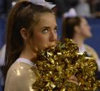 A Bishop Dwenger cheerleader watches the final moments tick off the clock.