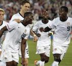 United States' Maurice Edu (19) celebrates his goal against the Czech Republic with teammates Eddie Johnson (9), DaMarcus Beasley, second from right, Stuart Holden, left, and Clarence Goodsen, second from left, during the first half of an international friendly soccer match in East Hartford, Conn., Tuesday, May 25, 2010.