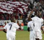 United States' Maurice Edu, right, celebrates his goal against the Czech Republic with teammate DaMarcus Beasley (7) during the first half of an international friendly soccer match in East Hartford, Conn., Tuesday, May 25, 2010.