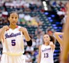 Indiana All-Star Ariana Simmons of South Side High School prepares to shoot a free throw against Kentucky on Saturday at Bankers Life Fieldhouse in Indianapolis. (Photo by Gannon Burgett for The News-Sentinel)