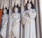 Statues carved into the entrance portal of Duke University's chapel include, from left, Thomas Jefferson; Robert E. Lee, and Sidney Lanier, a poet, in Durham, N.C.  (Photo by Lisa Esquivel Long of The News-Sentinel)