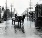 An unidentified man drove his carriage on a flooded North Clinton Street. (News-Sentinel file photo)