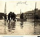 Traveling along Wells Street, rescuers evacuated ill residents.  (Photo courtesy of the Harter Postcard Collection/ACPL)