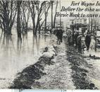 Workers tried unsuccessfully to reinforce the Lakeside dike. (Photo courtesy of the Harter Postcard Collection/ACPL)
