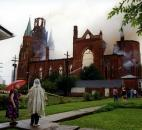 The remains of St. Mary's smoldered after fire destroyed the building Sept. 2, 1993. Image courtesy of Diocese of Fort Wayne-South Bend