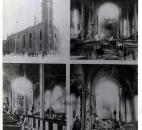 A collage of historic images of St. Marys that includes images of damage after the boiler explosion. Image courtesy of Diocese of Fort Wayne-South Bend