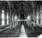 The former church was too large for the membership at the time of the fire. The current building was designed with a smaller sanctuary and more room for the soup kitchen. Image courtesy of Diocese of Fort Wayne-South Bend