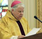 Bishop John D'Arcy welcomes the gathering for the installation of the Most Rev. Kevin C. Rhoades in January 2009 at the Cathedral of Immaculate Conception. Photo by Ellie Bogue