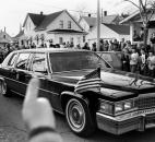 President Reagan's car got a thumbs-up as he toured the city to view firsthand the flooding problems.