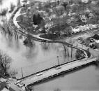 The Tennessee Avenue Bridge stayed above water, as well as the dike along Griswold Drive (shown along the St. Joseph River through the center of the photo), keeping the Spy Run neighborhood mostly dry.