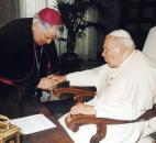 Bishop John D'Arcy with Pope John Paul II, circa 1998. News-Sentinel file photo