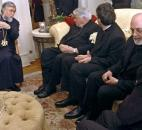 Aram I, the spiritual leader of the Holy See of Cilicia of the Armenian Apostolic Church, made a visit to Fort Wayne in December 2006, hosted by Zohrab and Naomi Tazian. Aram I meets with Bishop John D'Arcy and other local clergy members. News-Sentinel file photo