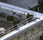 Two police officers holding rifles watch from the roof of the Lenox Hotel overlooking the finish area of  the 2013 Boston Marathon on Monday in Boston. Photo by By The Associated Press
