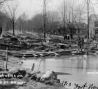 Debris from the flooded Maumee River piled up on Edgewater Avenue, east of the Coombs Street Bridge. (Photo courtesy of The History Center)