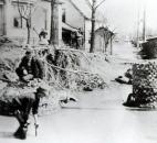 Sidewalks along St. Joe Boulevard were washed away, exposing pipes and an old cistern. (Photo courtesy of The History Center)