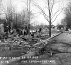 Debris collected at the Coombs Street Bridge on Edgewater Avenue. (Photo courtesy of The History Center)