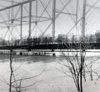 On the Columbia Street Bridge, onlookers examined the high waters of the Maumee River. (Photo courtesy of The History Center)