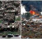 This combination of Associated Press photos shows, left, a neighborhood in Moore, Okla., in ruins on  May 4, 1999, after a tornado flattened many houses and buildings in central Oklahoma, and right, flattened houses in Moore on Monday. (Photo by The Associated Press)