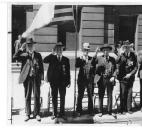 Only six Civil War veterans see the Memorial Day parade from the reviewing stand in 1934. Pictured are Col. David N. Foster, William B. Donaldson, Thomas Cragg, John Young, William H. Hannen and Alexander Ormison.
