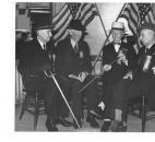 In 1936, four members of Bass-Lawton Post No. 40 G.A.R. reminisce about the Civil War. Pictured are William H. Hannen, 90; Alex Ormiston, 93; Thomas Craff, 89; and John Young, 90.