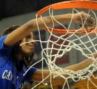 Aaliyah Gaines cuts the net down after Canterbury won its second straight Class A state title Saturday. (Photo by Ellie Bogue)