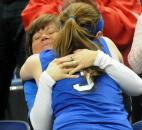 Darby Maggard gets a big hug from her mother, Dee Dee Maggard, after Canterbury won the IHSAA Class A state title Saturday in Terre Haute. (Photo by Ellie Bogue)