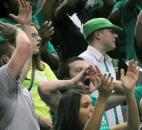 South Side students cheer for the Archers during Saturday's IHSAA Class 4A state title game in Terre Haute. (Photo by Ellie Bogue)