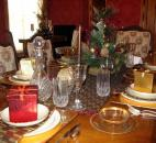 The table is set for the holiday in the Rose Room, decorated by Morrison Kattman Menze.