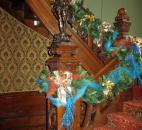 Sherry Armstrong Miller of Armstrong Flowers decorated the stairwell going from the first to the second floor at Brookside.