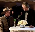 "This publicity image released by TNT shows Larry Hagman as J.R. Ewing, left, and Patrick Duffy as Bobby Ewing in a scene from the new ""Dallas"" TV series on TNT. Hagman had just completed several episodes of the show's second season when he died Thanksgiving weekend. Courtesy photo"